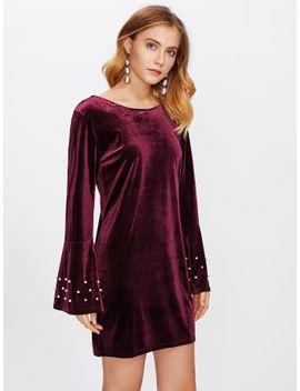 pearl-beaded-fluted-sleeve-velvet-dress by sheinside