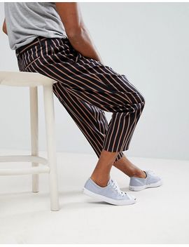 asos-drop-crotch-tapered-smart-pants-in-navy-with-bold-stripe by asos