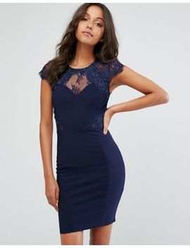 lipsy-mini-dress-with-lace-trim-with-pearl-detail by lipsy
