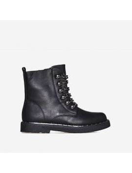 lucid-chain-detail-biker-boot-in-black-faux-leather by ego
