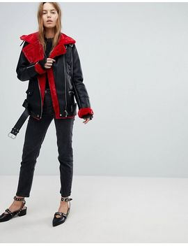 bershka-contrast-detail-aviator-jacket by bershka