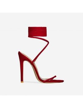 ali-lace-up-heel-in-red-faux-suede by ego
