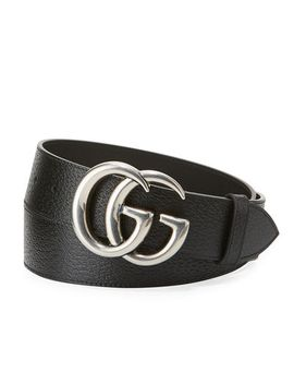 mens-leather-belt-with-silvertone-double-g-buckle by gucci
