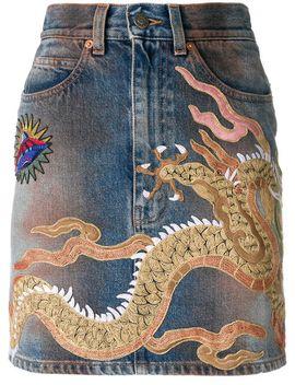 dragon-motif-denim-skirt by gucci