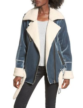faux-shearling-&-velvet-jacket by blanknyc