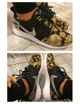 gold-baroque-floral-nike-roshe-run-custom-sneakers by etsy