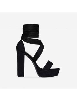 oriel-lace-up-platform-heel-in-black-faux-suede by ego