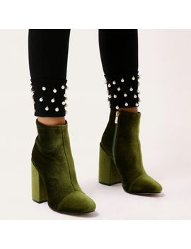 beatbox-round-toe-block-heel-ankle-boots-in-green-velvet by public-desire