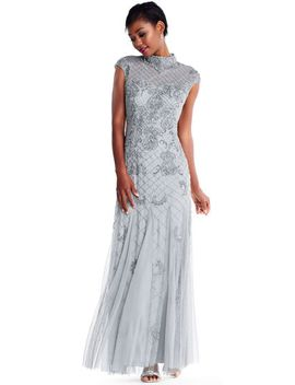 cap-sleeve-fleur-beaded-godet-gown-with-mock-neckline by adrianna-papell