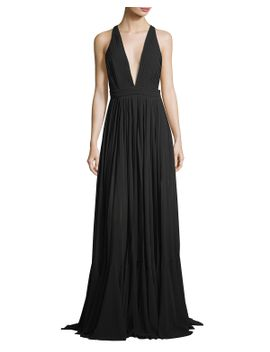 fiona-plunging-v-neck-pleated-chiffon-dress by milly