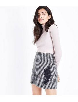 black-check-floral-lace-patch-mini-skirt by new-look