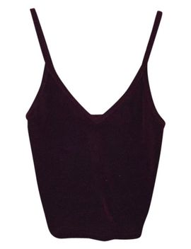 dark-maroon-cropped-velvet-with-deep-v-tank-top_cami by brandy-melville
