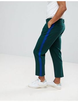 asos-tapered-smart-pants-in-dark-green-with-blue-side-stripe by asos