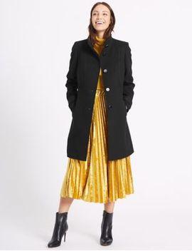 waist-stitch-detail-coat by marks-&-spencer