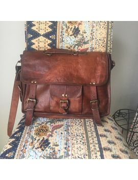 dark-brown-leather-laptop-bag-(book-bag) by poshmark
