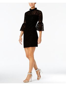 petite-burnout-velvet-lace-bell-sleeve-dress by calvin-klein
