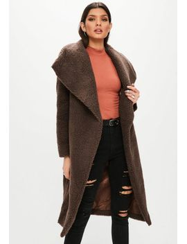 brown-waterfall-teddy-coat by missguided