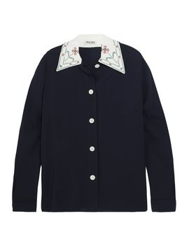 embroidered-crepe-shirt by miu-miu