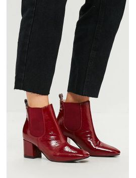 red-vinyl-chelsea-ankle-boots by missguided