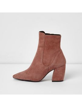 pink-suede-curved-heel-pointed-ankle-boots by river-island