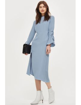 high-neck-rouch-midi-dress by topshop