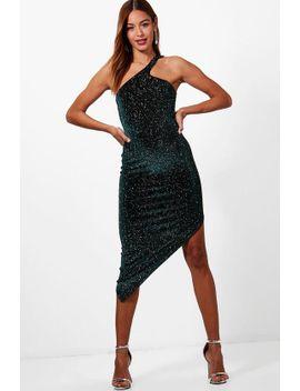 metallic-velvet-one-shoulder-midi-dress by boohoo