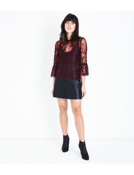 burgundy-2-tone-lace-bell-sleeve-top by new-look