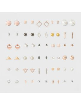 womens-earring-set-thirty-pack-with-geo-shape-studs---rose-gold by rose-gold