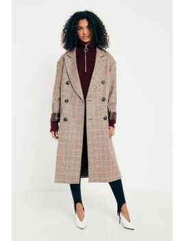 uo-camel-checked-double-breasted-wool-coat by urban-outfitters
