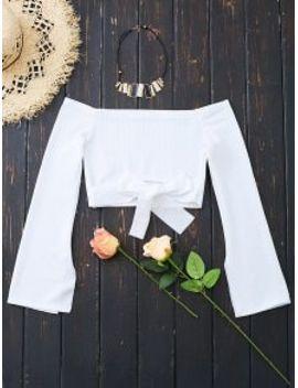 off-shoulder-bowknot-hem-crop-blouse---white-l by zaful