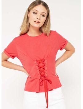 petite-red-corset-t-shirt by miss-selfridge