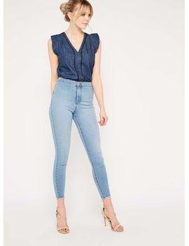 steffi-light-blue-raw-hem-jeans by miss-selfridge