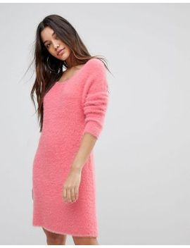 prettylittlething-fluffy-crew-neck-jumper-dress by prettylittlething