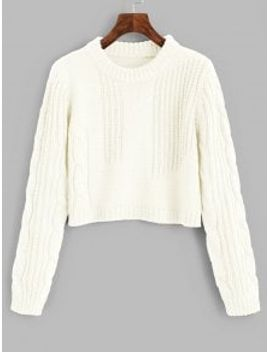 cable-knit-panel-pullover-cropped-sweater---white by zaful