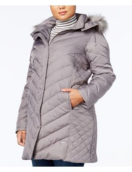 plus-size-faux-fur-trim-quilted-down-coat by kenneth-cole
