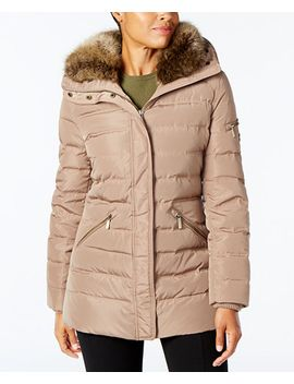 plus-size-faux-fur-collar-down-coat by michael-michael-kors