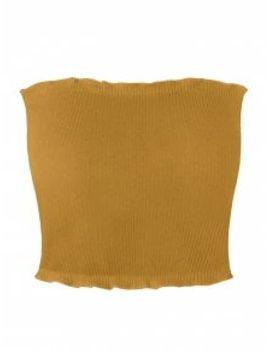 saleribbed-flounced-tube-top---yellow-xl by zaful