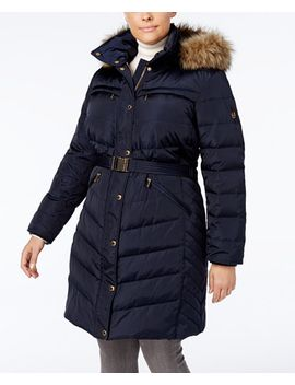 plus-size-faux-fur-trim-belted-puffer-coat by michael-michael-kors