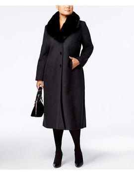 plus-size-fur-shawl-collar-maxi-coat by forecaster