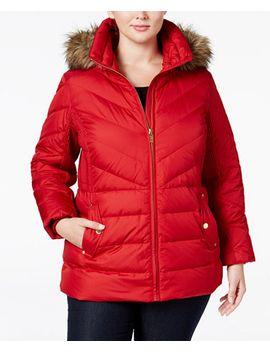 plus-size-faux-fur-trim-chevron-quilted-down-coat by michael-michael-kors