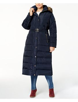 plus-size-belted-faux-fur-hooded-maxi-down-coat by michael-michael-kors