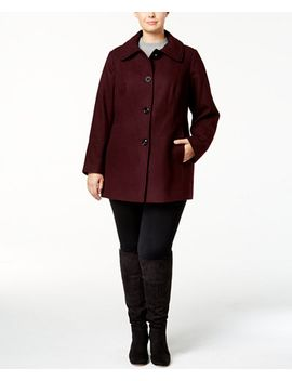 plus-size-layered-collar-peacoat by london-fog