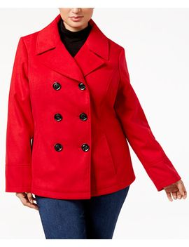 trendy-plus-size-double-breasted-peacoat by celebrity-pink