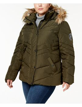 trendy-plus-size-faux-fur-trimmed-hooded-chevron-puffer-coat by madden-girl