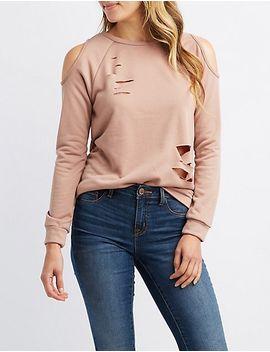destroyed-cold-shoulder-sweatshirt by charlotte-russe