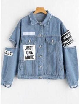 letter-patched-cut-out-ripped-denim-jacket---denim-blue-xl by zaful