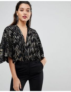 flounce-london-going-out-cape-bodysuit-with-plunge-front-in-crinkle-metallic-velvet by flounce-london