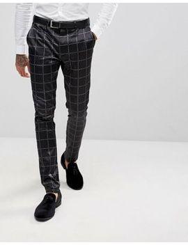 asos-super-skinny-suit-trousers-in-printed-slogan-check by asos