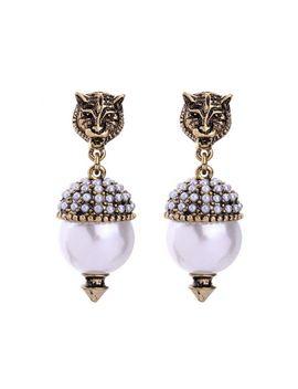new-vintage-feline-earrings-for-women-fashion-jewelry-pearl-earrings-pendant-antique-gold-brincos-female-bijoux by aliexpresscom