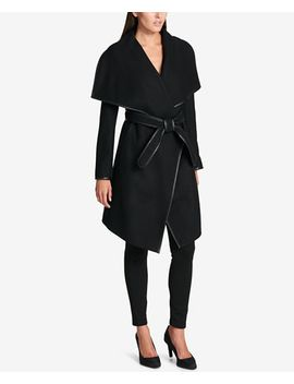 faux-leather-trim-wrap-coat by dkny